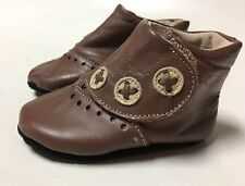 New Livie & Luca Baby Shoes Booties London Brown 0-6m 1 2 HTF!