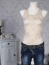 Damen Träger Top Trägertop Spitzentop Shirt ärmellos Stretch Spitze beige Neu
