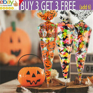 100pcs Halloween Cone Bags Sweet Treat Candy Kid Party Christmas Cellophane Tira