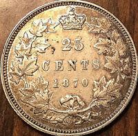 1870 CANADA SILVER 25 CENTS COIN SILVER QUARTER