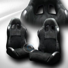 2 UNIVERSAL SP SPORT BLK SUEDE LEATHER RECLINABLE RACING BUCKET SEATS+SLIDER C22