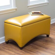 Upholstered Bench Leather Storage Ottoman Nailhead Seat Furniture Arched Yellow