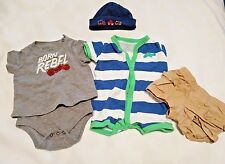 Lot NEWBORN BABY CLOTHES Toddler Shorts Hat Beanie One Pieces Gerbers Cherokee
