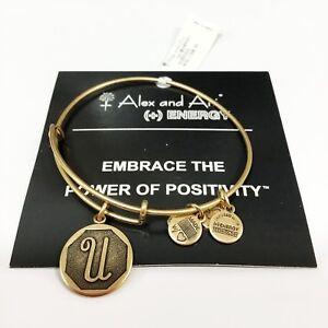 "NEW Alex and Ani Bangle Charm Bracelet Letter Initial ""U""  Rafaelian Gold"