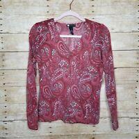 Carole Little Cardigan Womens Small Red Paisley Lambs Wool Angora Blend Sweater