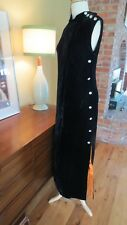 Vtg 60s Mod Black Velvet Orange Satin Halloween Maxi Dress Rhinestone buttons  4