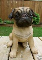 PUG DOG FIGURINE resin animal Statue PET  SITTING PUPPY  11 in. wrinkles