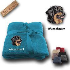 Fleecy Cuddle Blanket Dog Hovawart Black + Custom Text, Embroidery,
