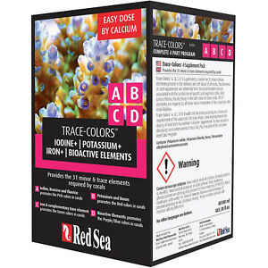 Red Sea Trace Colors ABCD Supplement Pack 4x 100mL Coral Color Enhancing Formula