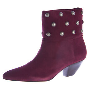 REBECCA MINKOFF Women's Colorado Deep Red Suede Heeled Ankle Boots Sz 7 NEW