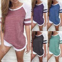 Gb Mujer Manga Corta Jersey Suéter Informal de Holgado Empalme Camisetas Blusa
