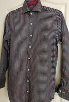 Peter Millar Mens Dress Shirt sz small Black striped Long Sleeve Button up