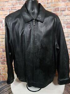 Vintage Wilsons Black Leather Bomber Jacket Mens Size Large With Liner EUC
