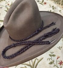 HANDMADE LARIAT HAT BAND BRAIDED LEATHER WESTERN HATBAND STAMPEDE SET anyColor