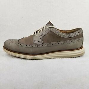 Nice Used COLE HAAN Lunargrand Lunarlon Grey Leather Mens Shoes C13974 9.5 M