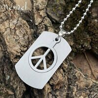 MENDEL Light Stainless Steel Peace Sign Pendant Necklace Jewelry 20 Inch Chain