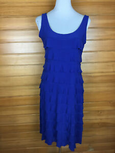 Zig Zag Royal Blue Ruffled Flapper Style Cocktail/Party Dress Petite Size 12 GUC