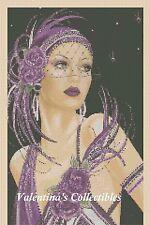 Cross Stitch Chart ART DECO LADY in Purple Dress -  No.1-9d (Large Print)