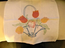 Great Vintage Handmade Applique and Embroidered Throw Pillow Case