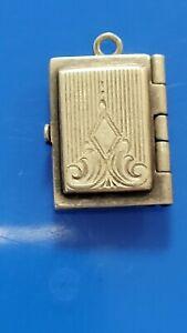Vtg 40's Sterling Silver Book Charm Locket ~ Hide Photos & Secret Notes Inside