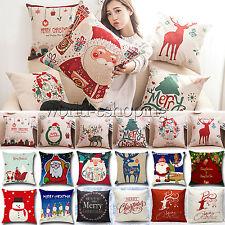 Christmas Xmas Santa Reindeer Snowman Pillows Case Cushion Cover Sofa Home Decor