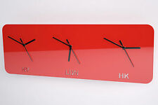 Time Zone Clock, London/New York/Hong Kong, Living Room, Bedroom, 41 Colours