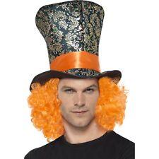 Men's Women's Mad Hatter Top Hat & Orange Hair Alice in Wonderland Tea Party