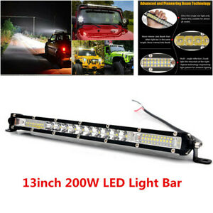 13inch Super Slim 10D 200W LED Off-road Truck Spot Flood Beam Work Light Bar