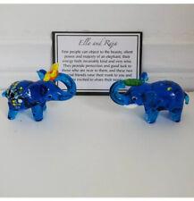 Ella And Raja Blue Glass elephant Figurines Pier 1 Imports