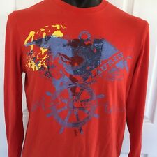 Vintage Polo Ralph Lauren Red Long Sleeve T Shirt Crew Neck Front Graphic Sz L