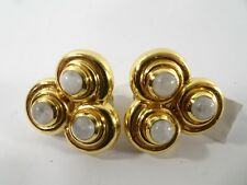 Julie Vos Women's Trio Gold and white stone Clip-On Earrings NWOT 155