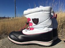Totes Winter Fun Black White Snow Boots Faux Fur Lined Lace-Up Size 10M Women's
