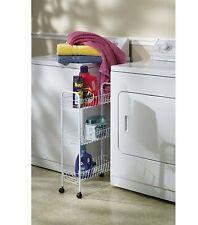 Household Essentials Slim Line 3-Tier Metal Storage Cart, White , New, Free Ship