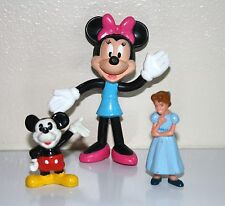 """Collectible Disney Set of 3 Micky & Minnie Mouse, Cinderella Figurines 1980""""s"""