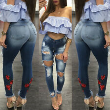 Women Denim Skinny Ripped Pants High Waist Stretch Jeans Long Pencil Trousers