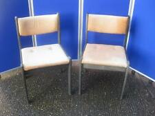 2 x Chair  - Dining / Kitchen Chairs - Wood Frame, Fabric Seat - Vintage 1980s