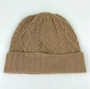LORD & TAYLOR 100% Cashmere Camel Tan Brown Cable Knit Beanie Cap Women Hat