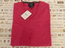 HACKETT S12 Jumper ITALIAN Made Pink Size XXL V-Neck Merino Wool Top BNWT RP£140