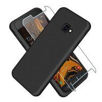 SDTEK Coque Pour Samsung Galaxy XCover 4s Noir Avec Protection Ridges