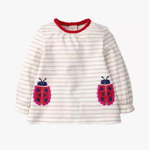 Mini Boden Baby Appliqué Ladybug Top ,Ivory/Pink