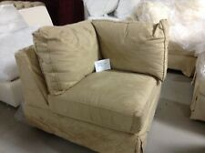 Pottery Barn Comfort Couch Sofa Sectional  CORNER POLY BOX Slipcover Oat Suede