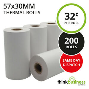 200 x Premium 57x30mm Thermal Paper EFTPOS Rolls for Tyro Xentissimo Yoximo