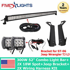 "52Inch 300W +4"" 18W LED Light Bar+Mount Brackets Fit For Jeep TJ 97-06+2X Wiring"