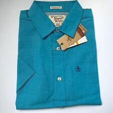 Original Penguin Blue Casual Short Sleeve Shirt Slim Fit Size Small Bargain £12