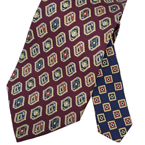 Tommy Hilfiger Italian Silk Tie Necktie Maroon Red Blue Gold Paisley Medallion