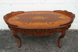 Early 1900s Heavy Hand Carved Inlay Coffee Table 2340