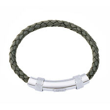 JOS VON ARX - GREY LEATHER INTEGRATED BRACELET WITH PRESENTATION GIFT BOX