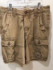 Mens Hollister/Abercrombie California Distressed Cargo Shorts Sz 31 Tan