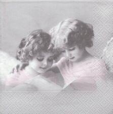 2 Serviettes en papier Anges Roses Paper Napkins Pink Angels Sagen Vintage