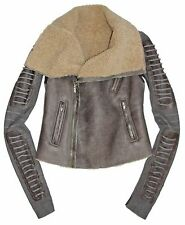 RICK OWENS Lamb Leather Shearling Fur Biker Moto Jacket  with Corded Arms US 6